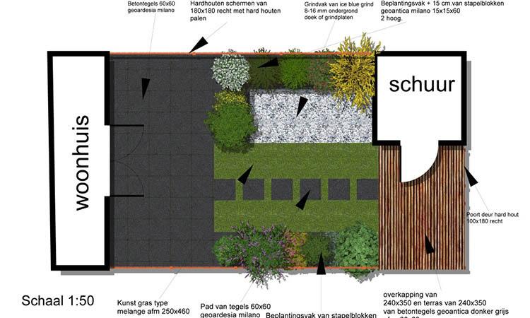 Schets Voor Een Tuin Ontwerp